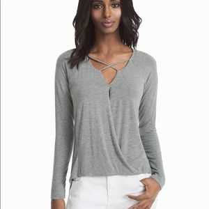 WHBM gray high-low long sleeved top size small